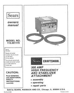 Craftsman 113.201170 Arc Stabilizer Attachment Owners
