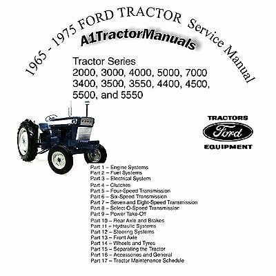 Ford Tractor 2000-7000 Shop Manual CD 1971 1972 1973 1974