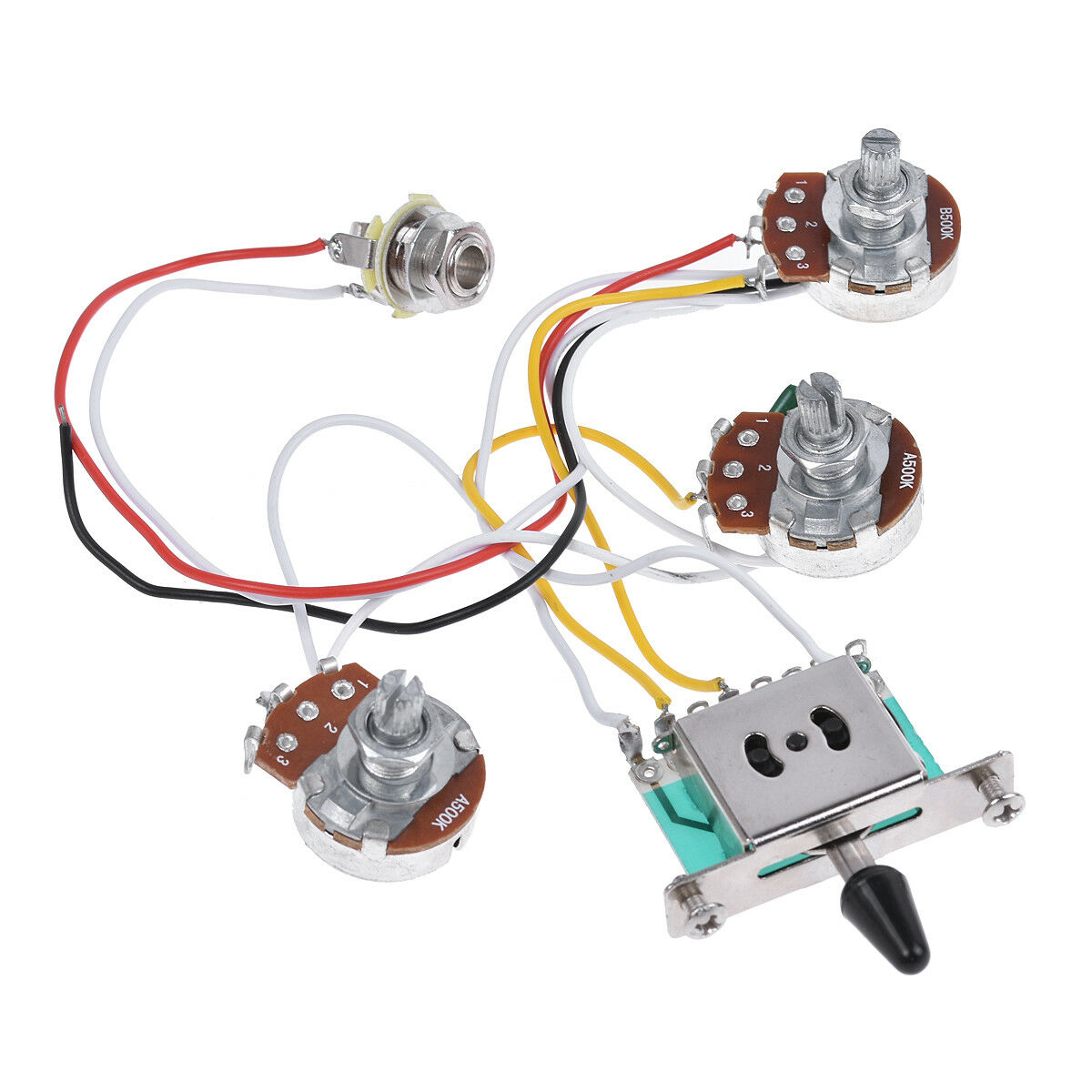 hight resolution of electric guitar wiring harness prewired kit for strat parts 5 way 500k pots 2t1v