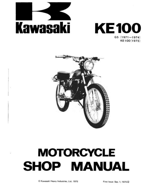 Kawasaki service manual KE100 1971, 1972, 1973 & 1974 G5