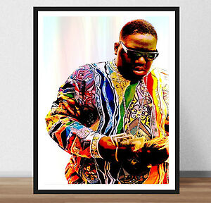 details about biggie smalls poster print art b i g hip hop life rap king frame
