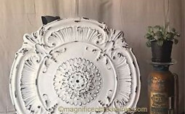 Country French Shabby Metal Ceiling Chandelier Medallion