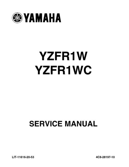 Yamaha owners service workshop manual 2007 YZFR1, YZFR1W