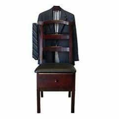 Mens Valet Chair And 1 2 With Ottoman Standing Clothing Hanger Wardrobe Organizer Bedroom Image Is Loading