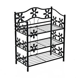Black Metal Shoe Rack Outdoor Storage Shelves Elegant