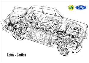 LOTUS CORTINA FORD CONSUL CORTINA MK1 CUTAWAY IMAGE RETRO