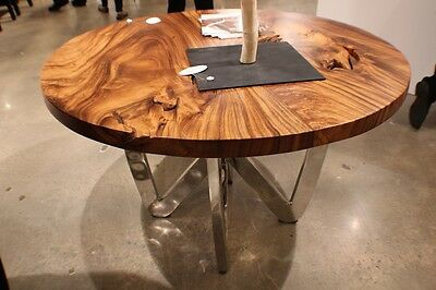 55 spectacular round dining table chrome steel legs natural exotic wood 3 slab ebay