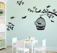 Tree Bird Cage Home Decal Art Wall Stickers Bedroom ...