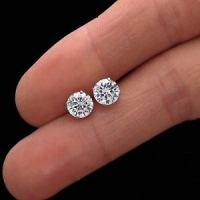 2Ct Brilliant Created Diamond Earrings 14K Real White Gold ...