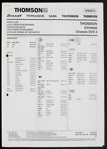 Thomson Dth4000 Chassis DVD 3 Original DVD Player Service