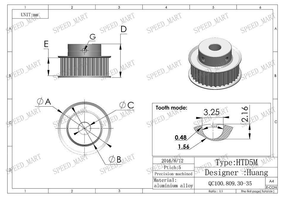 5M HTD5M Aluminum Timing Belt Pulley 36 Teeth 6mm Bore