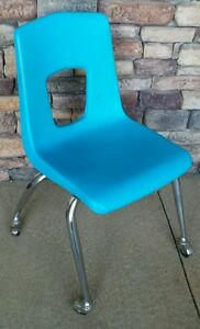 artco bell chairs dining room with arms and casters vintage mid century retro blue polyethylene 17 chair details about wheels