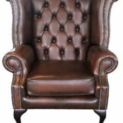 Queen Anne Wingback Chair Leather Folding Abu Dhabi Chesterfield London Antique Brown Genuine 100 Image Is Loading