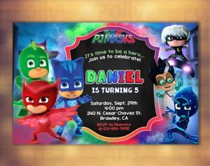 details about pj masks digital birthday invitation card printable invite