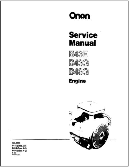 ONAN B43E B43G B48G Engine Service Shop Manual 965-0757