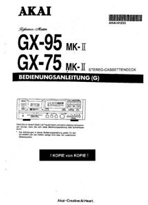 Akai GX-75MKII GX-95MKII Cassette Deck Owners Instruction