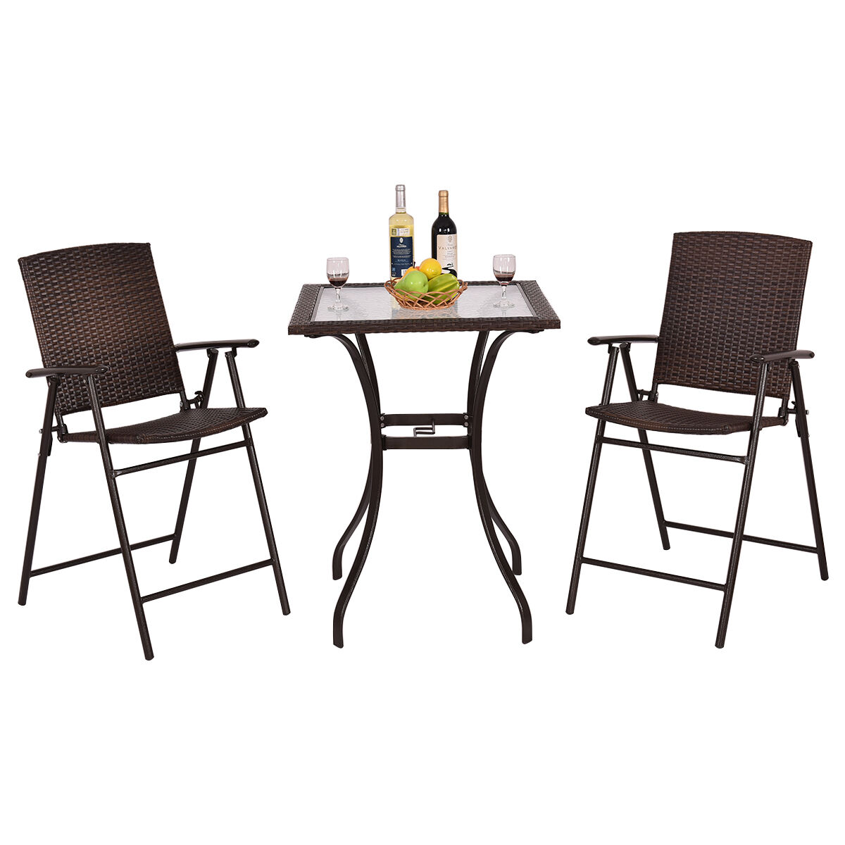 cheap table chairs vintage aluminum lawn garden bistro set 2 chair patio rattan balcony