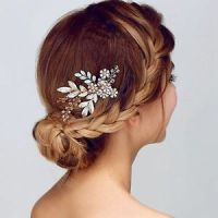 Crystal Rhinestone Gold Leaf Wedding Hair Combs Wedding ...