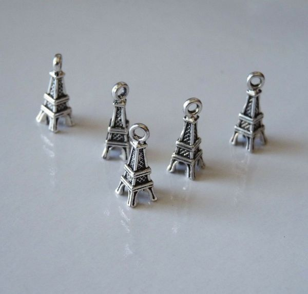 10pcs Small Eiffel Tower Charm Pendant Necklace Findings