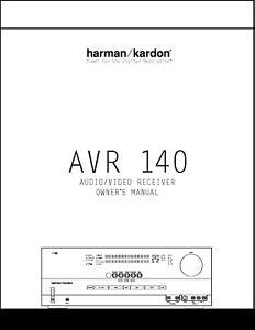 Harman Kardon AVR 140 AV Receiver Owner's Manual