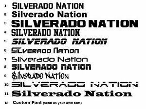 Silverado Nation Decal Set 2 Stickers Chevy 1500 2500