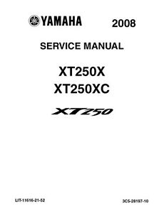 Yamaha XT 250 X & XC 2008 Repair Service Manual LIT-11616