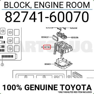 8274160070 Genuine Toyota BLOCK, ENGINE ROOM 82741-60070