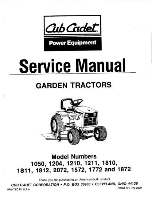 Cub Cadet G-SG 1050, 1204, 1210, 1211, 1810, Series (1986
