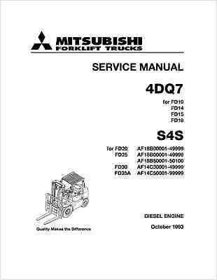 Mitsubishi 4DQ7 S4S Forklift Truck Engine Service Manual