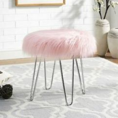 Pink Vanity Chair Wood Rail Faux Fur Stool Ottoman For Girls Teens Women Small La Foto Se Esta Cargando
