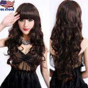 women bangs long dark brown wavy