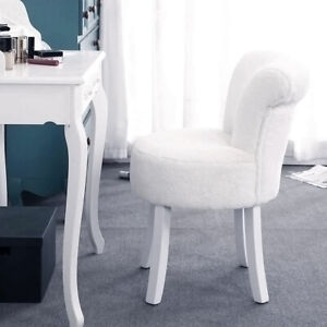 details about white fluffy dressing table stool vanity makeup chair scroll back padded seat