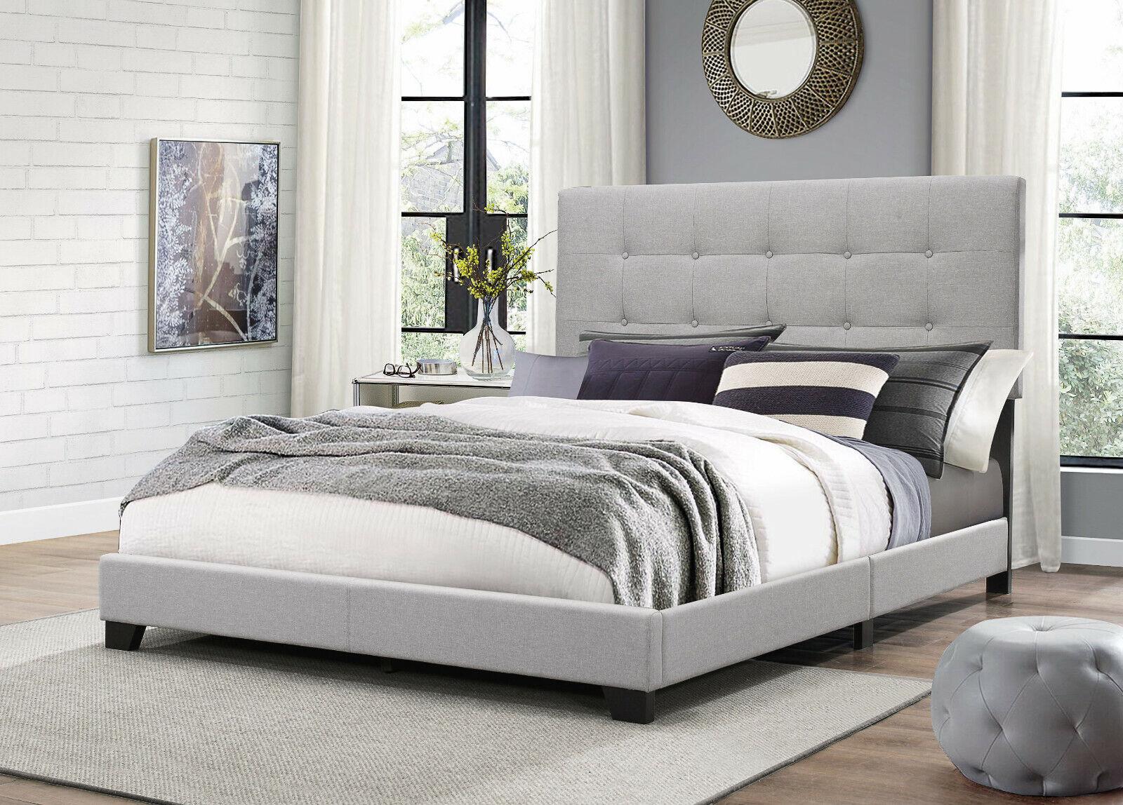 King Size Platform Bed Wood Frame Tufted Headboard Bedroom Gray Upholstered Beds For Sale Online Ebay