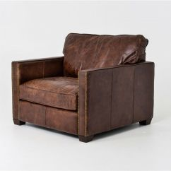 Leather Cigar Chair Kitchen Table And Chairs For Sale 40 Quot W Club Top Grain Distressed Vintage