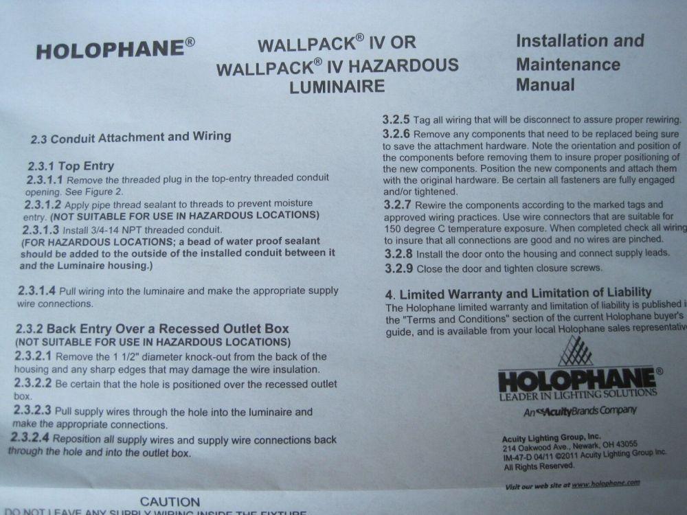 medium resolution of holophane wallpack iv 70 watt 120v w4070hp12skb black wall light lamp outdoor for sale online ebay