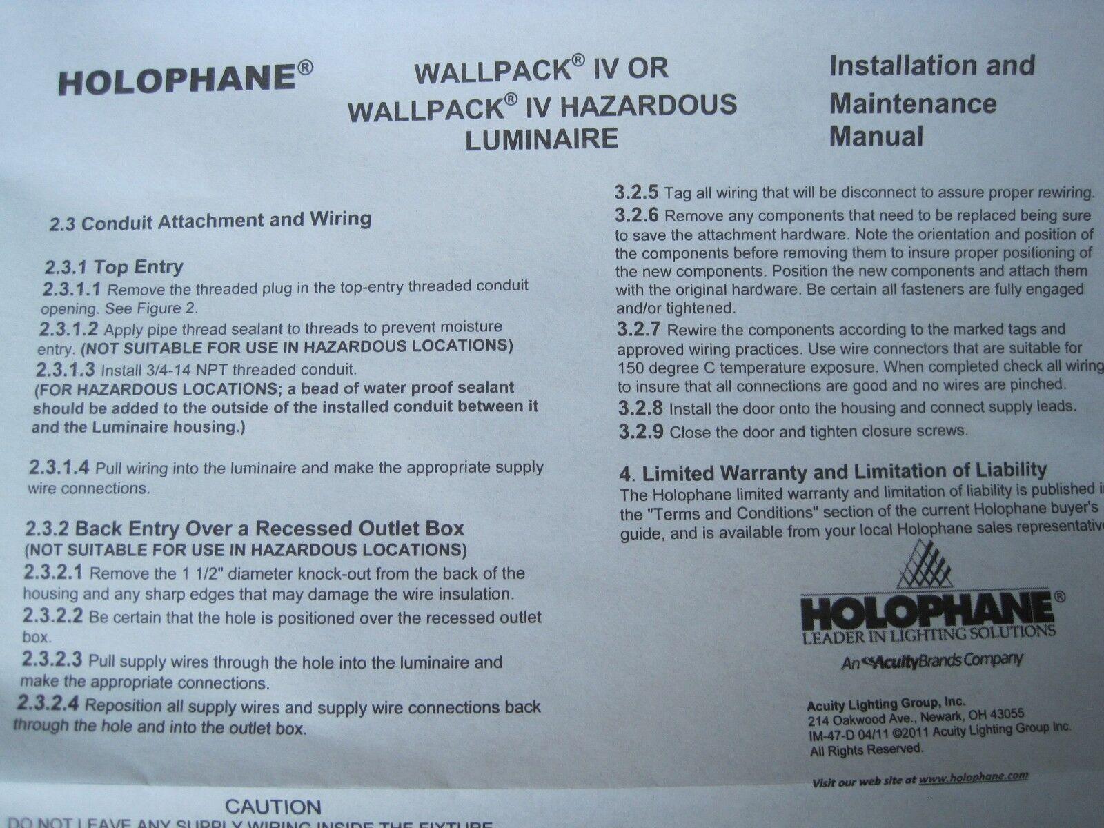 hight resolution of holophane wallpack iv 70 watt 120v w4070hp12skb black wall light lamp outdoor for sale online ebay