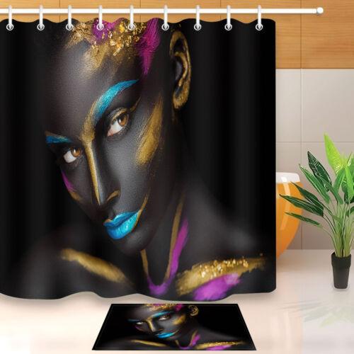 makeup rose gold blue african black girl shower curtain hooks bathroom mat 180cm bathroom supplies accessories shower curtains