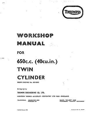 Triumph workshop service manual 1971 & 1972 TR6R Tiger 650