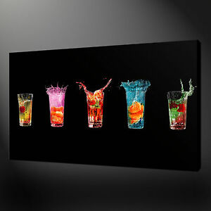 modern kitchen art discount cabinets colourful drinks canvas print wall design ready to hang image is loading