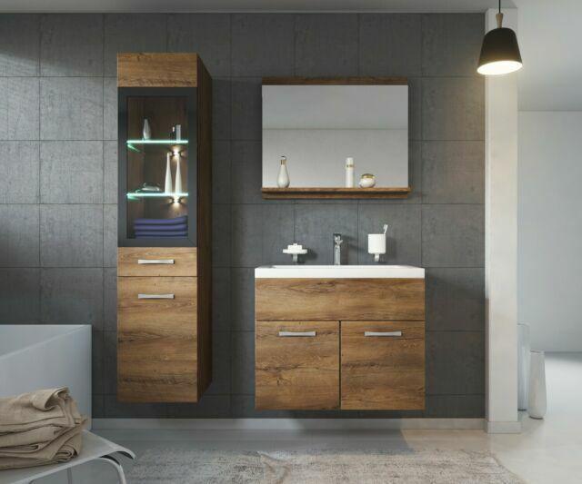 badplaats meubles de salle de bain armoire lavabo armoire de rangement miroir marron