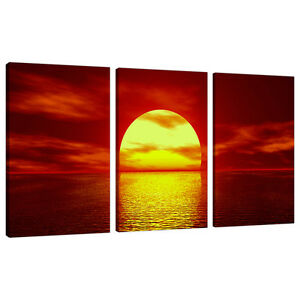 details about set of 3 piece red canvas wall art pictures uk sunset living room 3001
