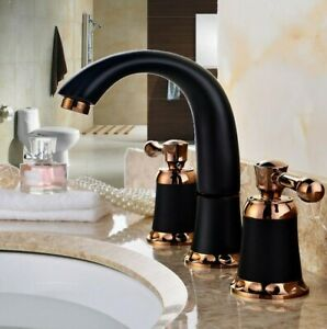 details about brass rose gold black sink 3 hole two handles widespread faucet mixer tap