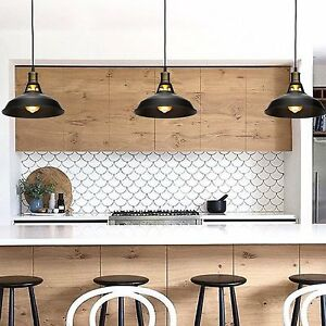 kitchen lamp instock cabinets black metal industrial hanging pendant light vintage commercial details about