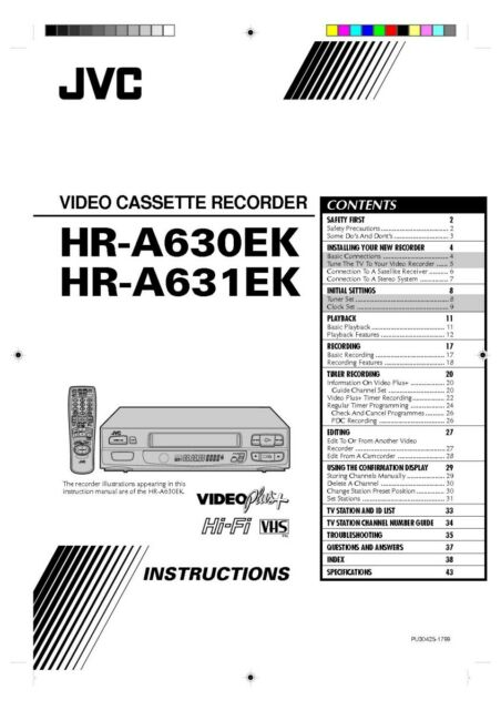 JVC HR-A630EK HR-A631EK VCR Owners Instruction Manual