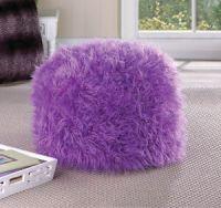 PURPLE fuzzy furry bean bag seat bedroom dorm floor pillow ...