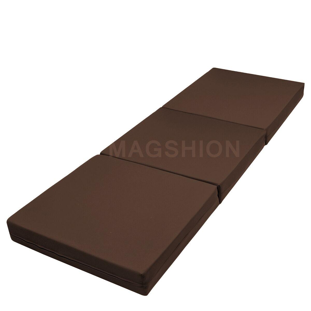 fold up bed chair foam metal restaurant chairs floor mattress tatami mat trifold folding mattresses - brown | ebay