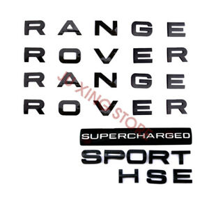 5PCS Gloss Black RANGE ROVER SPORT HSE SUPERCHARGED Letter
