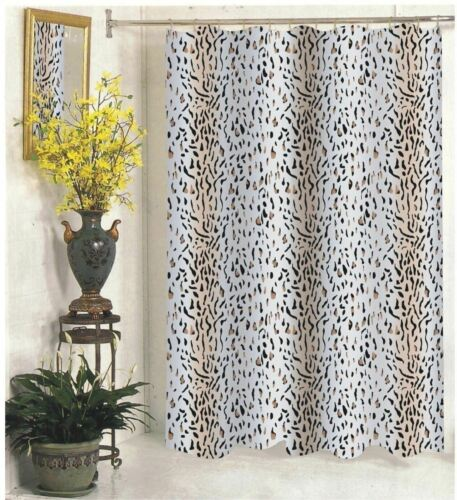 mobel wohnen brown white leopard tiger extra long shower curtain fabric bathroom 70 x 84 inch dusch badewannenzubehor