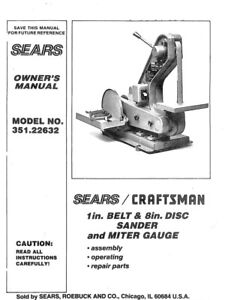 Craftsman 351.22632 Belt & Disc Sander Owners Instruction