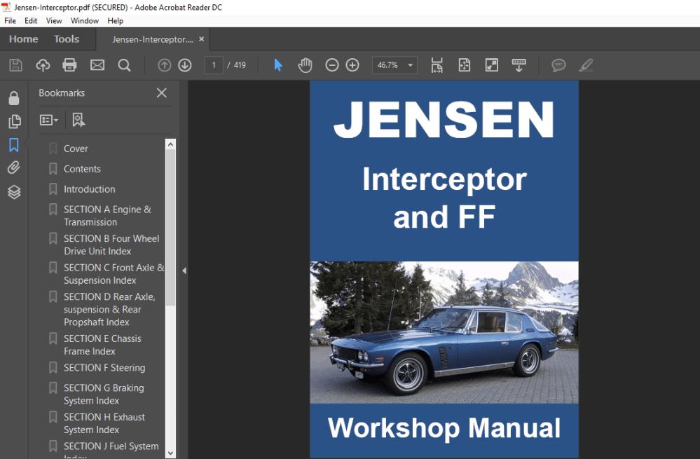 medium resolution of jensen interceptor ff mk 2 3 1969 1976 workshop manual wiring diagrams ebay